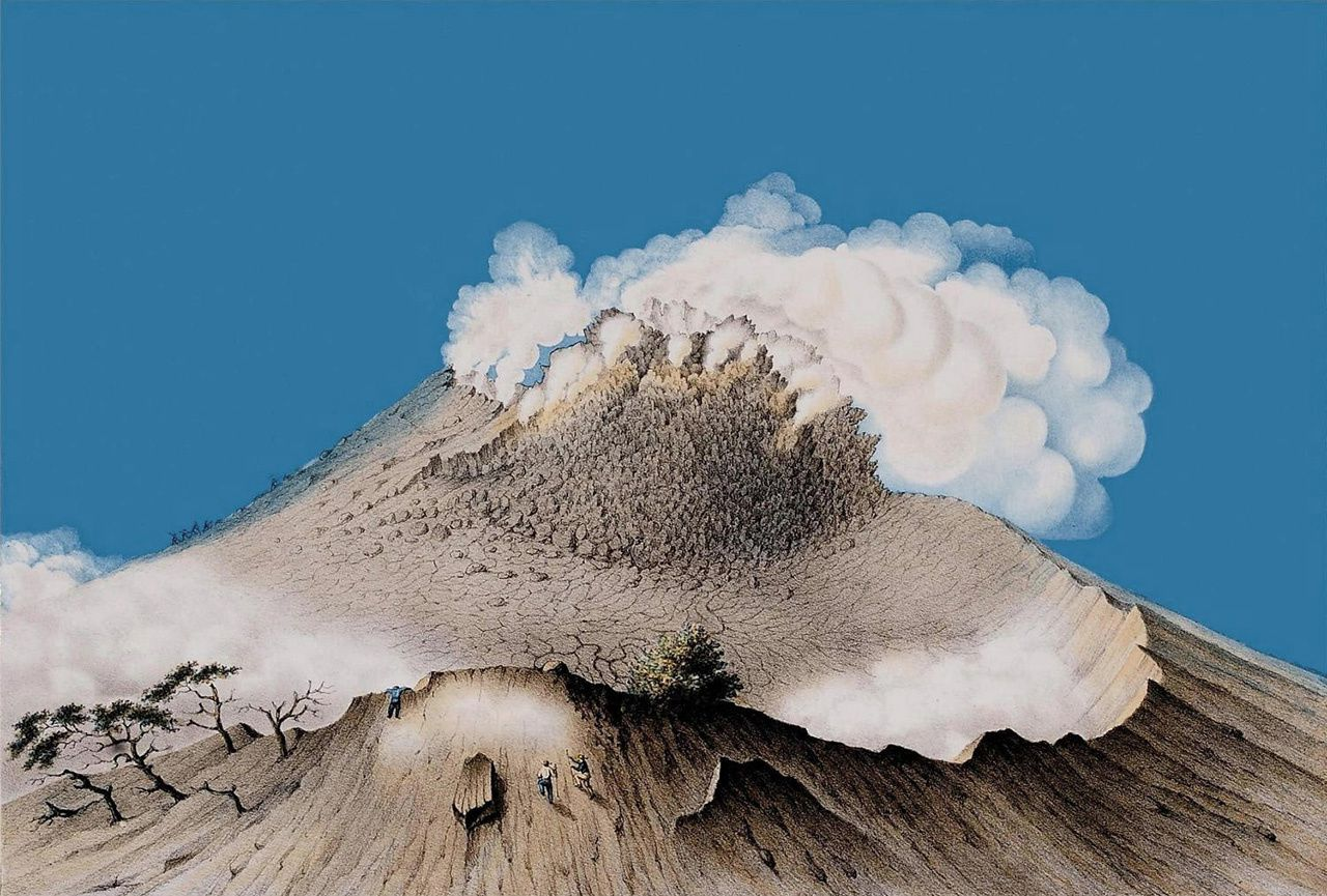 The dome of Merapi - a click to enlarge; characters give the scale - lithography of F.W.Junghuhn - Doc. public of the Troopen Museum