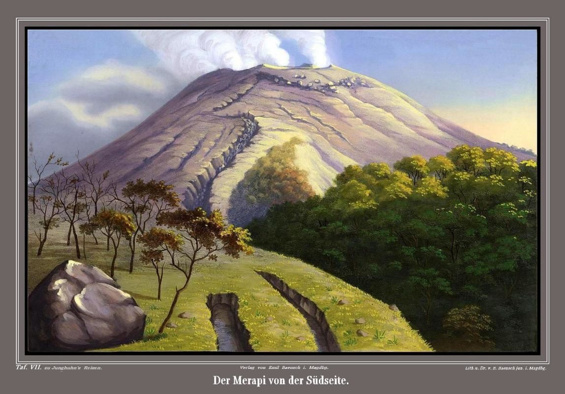 Merapi - the north and south side of the volcano - lithographs by F.W.Junghuhn - doc. Topographischer Atlas zur Reise durch Java
