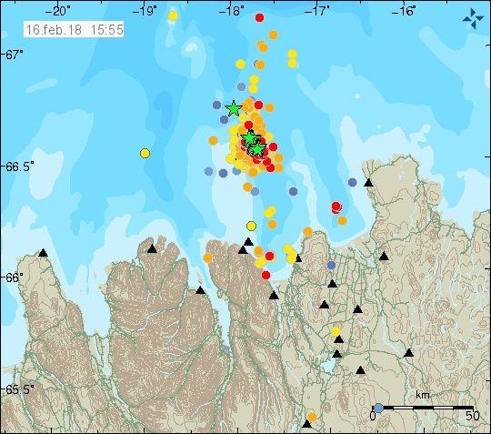 Localisation des séismes et magnitude le 16.02.2018 / 15h55 et le 17.02.2018 / 08h10 - doc.IMO