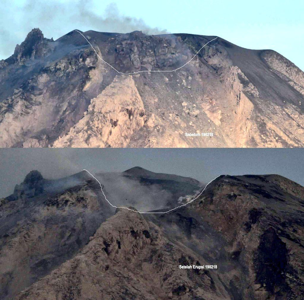 Sinabung - the summit and the dome before and after the eruption of 19.02.2018 - The dome has almost disappeared and the volcanic ash has leveled the summit area - doc.BNPB