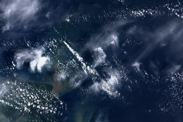 Les panaches de Kadovar le 23.02.2018 - image Landsat 8 / Nasa USGS