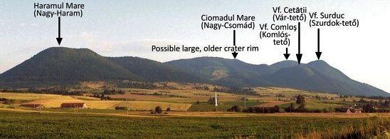 Le complexe de dômes et coulées Ciomadul, avec les cratères Szent Ana et Mohos - Doc.Science direct