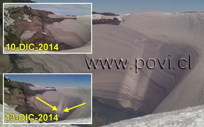 "Villarica 10-13 December 2014 - traces of erosion by violent outflows of gas ""Volcanic jetting"" - Doc. POVI archives"