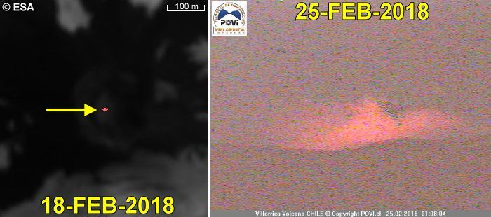 Villarica - evolution of the thermal signature between 5 and 25 February 2018 - incandescence on 25.02.2018 - Doc. Povi
