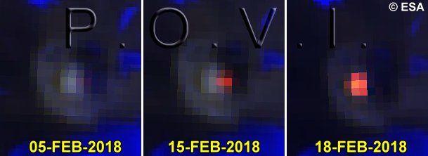 Villarica - évolution de la signature thermique entre le 5 et le 25 février 2018 - incandescence le 25.02.2018 - Doc. POVI