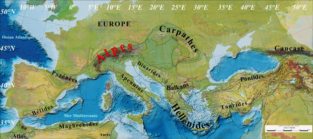 Location of the Carpathians and the Pannonian basin within the framework of Europe.