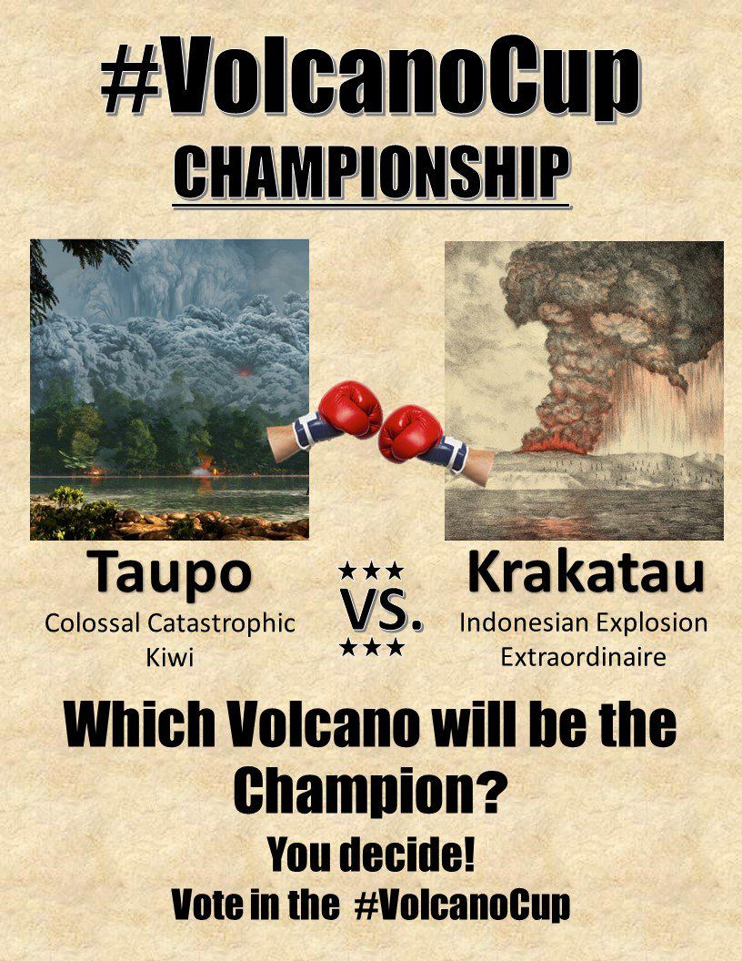 VolcanoCup - final poster between Le Taupo / NZ and Krakatau / Indonesia