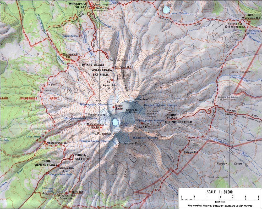 Map of Ruapehu - The 2007 eruption zone is at NO.