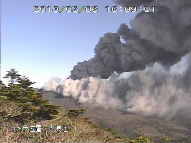 Shinmoedake - two active vents and emission of a double plume of different colors - 06.03.2018 / 16h09 - JMA webcam
