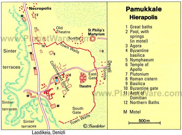 Map of Hierapolis - Pamukkale : The Plutonium is marked 7th, near the Temple of Apollo - the Pamukkale travetin terraces are on the left of the map Doc.http: //www.denizlihotel.com