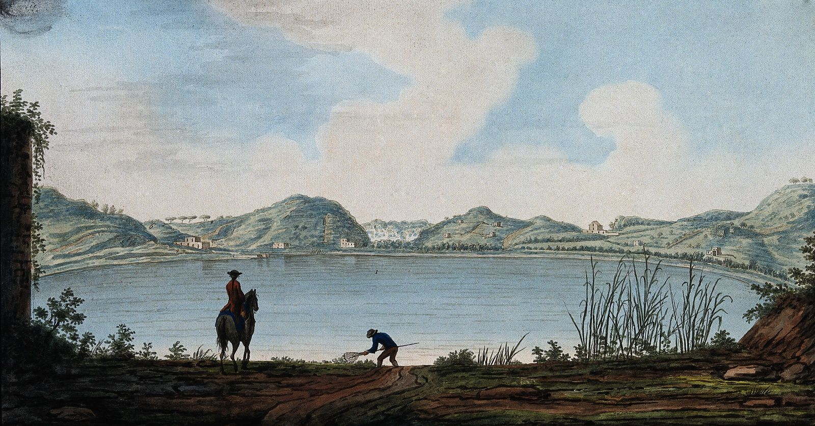 Lake Agnano. - Colored engraving by Pietro Fabris, 1776. - a click to enlarge