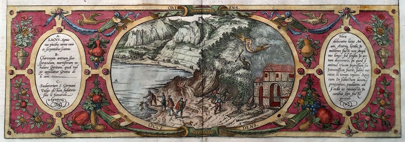 Antique engraving of Lake Agnano and the Grotto of the Dog - 1572 / Braun & Hogenberg - to notice: the dog immersed in the waters of the lake. - a click to enlarge