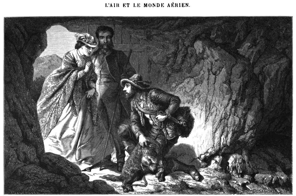 Grotta del Cane - a guide shows a dog asphyxiated to a couple of tourists - drawing Arthur Mangin 1865