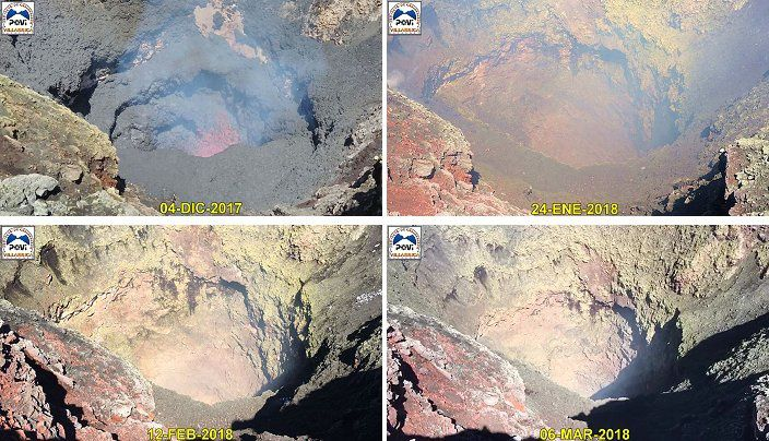Evolution du cratère du Villarica entre le 04.12.2017 et le 06.03.2018 - Doc.POVI