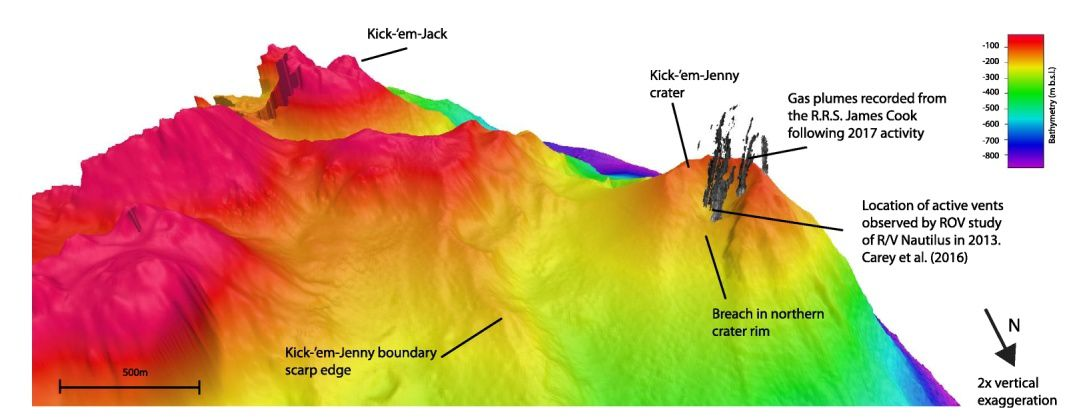 Multibeam bathymetry 2017 EM 710, and gas plumes recorded by RRS James Cook after Kick'em Jenny's activity in 2017 - Doc. 30 Years in the Life of an Active Submarine Volcano: A Time-Lapse Bathymetry Study of the Kick-'em-Jenny Volcano, Lesser West Indies R. W. Allen & al / 13.03.2018