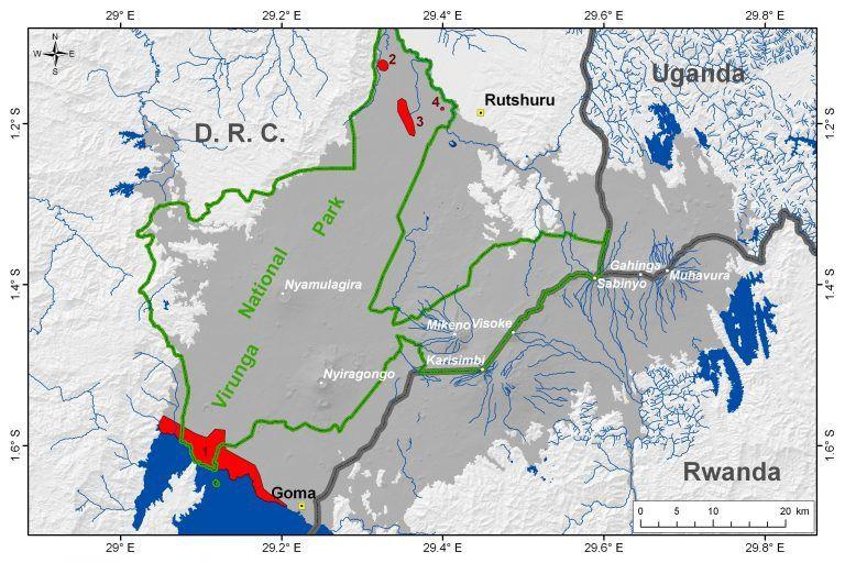 Localisation des zones principales de mazuku dans la Province Volcanique des Virunga -  1. littoral nord du lac Kivu; 2. zone du lac Ondo ; 3  zone de Kamikoni ; 4 . zone de Mbilibaliba .- les volcans sont indiqués en blanc (Location after Verschuren, 1965, and Smets et al., 2010)