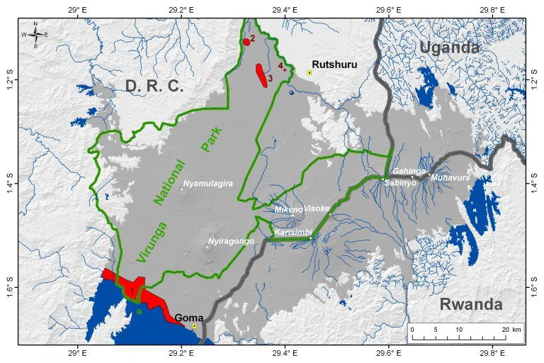 Location of the main mazuku areas in the Virunga Volcanic Province - 1. North coast of Lake Kivu; 2. Lake Ondo area; 3 Kamikoni area; 4. Mbilibaliba area .- volcanoes are shown in white (Location after Verschuren, 1965, and Smets et al., 2010)