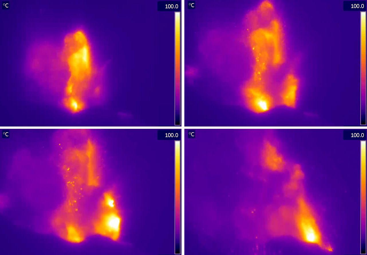 Explosion du 18 mars vue par la caméra thermique de Roccette (ROC) - Doc. Lgs