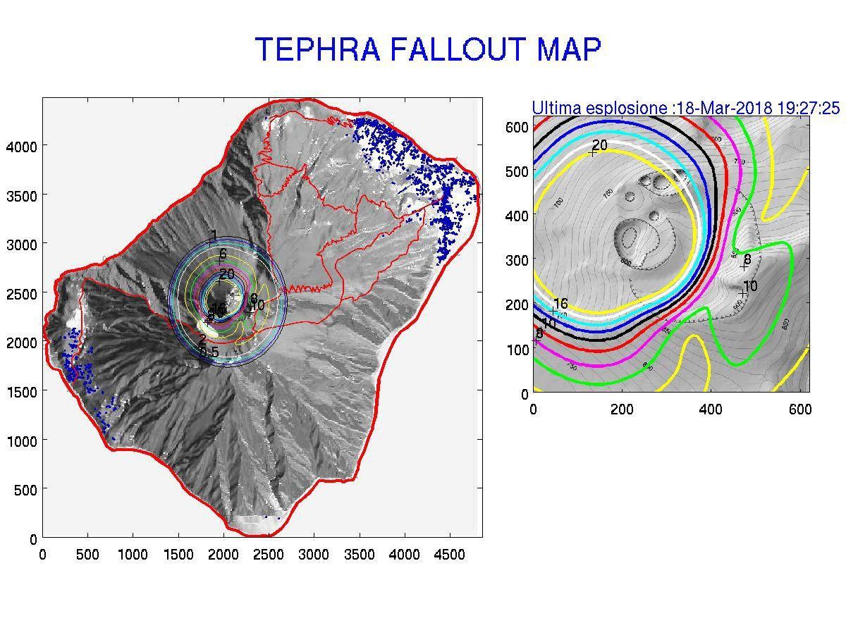 Stromboli - Zone de retombées de matériaux sur base du signal infrasonique de l'explosion du 18.03.2018 - Doc . Lgs