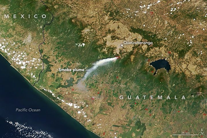 The smoke plume of the Santa Maria forest fires, seen by the NASA Terra Modis satellite on 22.03.2018