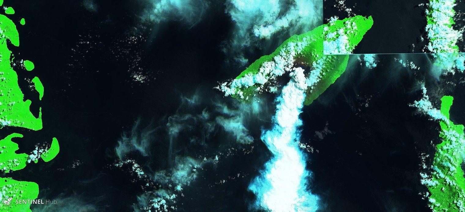 Ambae - 26.03.2018 -  Sentinel-2 image SWIR zoom