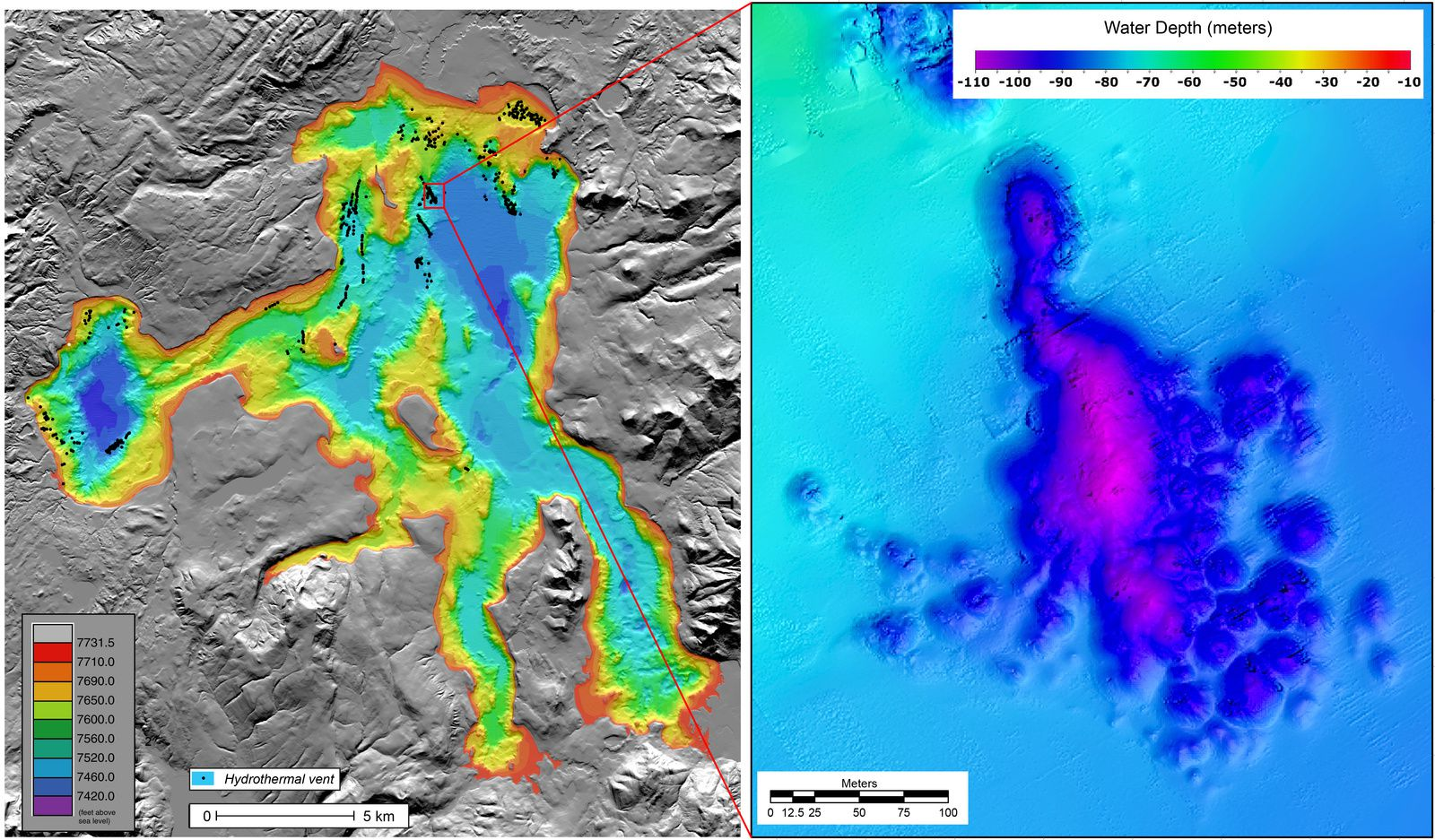 "High-resolution bathymetric map of Yellowstone Lake (left) showing the location of hydrothermal vents (black dots) on the lake floor. Zoomed area at right is an ultra-high-resolution (25 cm) bathymetric map of an area known as ""Deep Hole,"" which is a site of special focus for the HD-YLAKE project. The data for Deep Hole were collected by the Woods Hole Oceanographic Institution's autonomous underwater vehicle REMUS in July 2016."