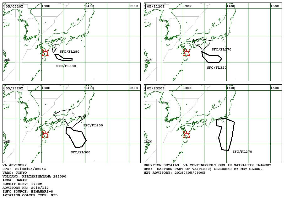 Shinmoedake - Volcanic Ash advisory / VAAC Tokyo 05.04.2018