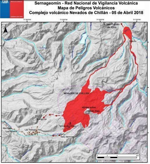 Nevados de Chillan - map of volcanic hazards updated 05.04.2018 - Doc.Sernageomin