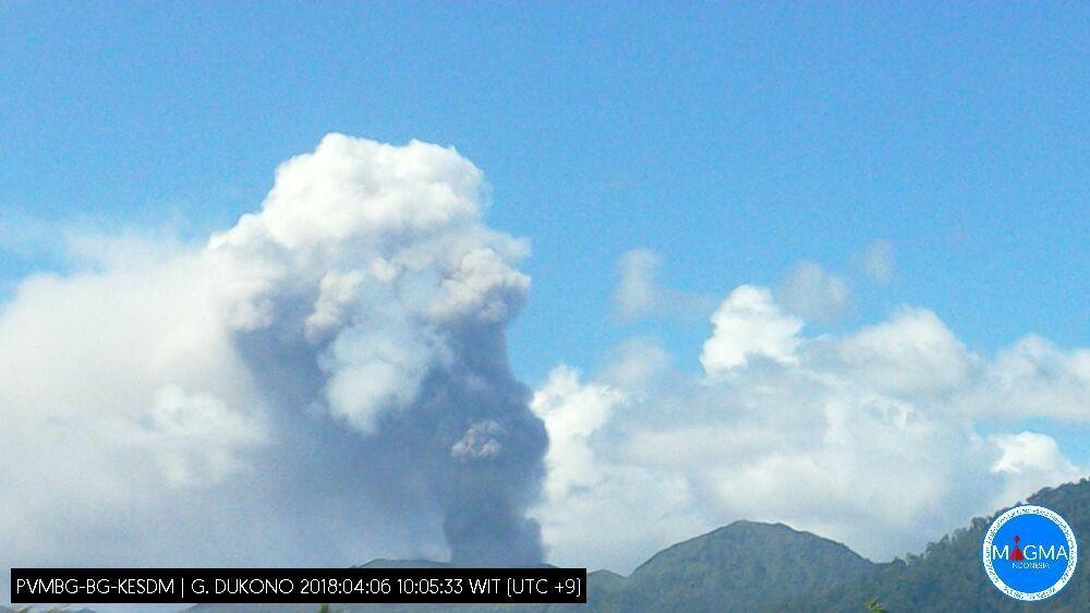 Dukono - plume of the 06.04.2018 / 10h05 - photo Magma Indonesia / PVMBG