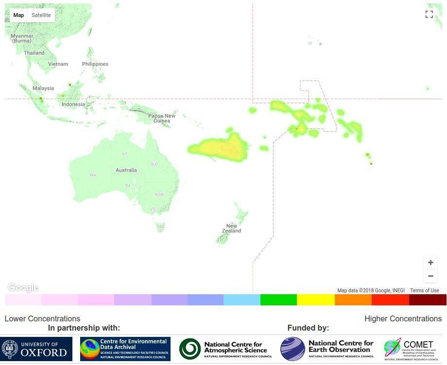 Carte des émissions de dioxyde de soufre par NERCscience, sur base de données Eumetsat Metop: Un vaste panache de dioxyde de soufre s'étale à l'est de l'australie, probablement le résultat de l'éruption du volcan d'ambae la semaine passée  -  Doc. Via Simon Proud / Twitter
