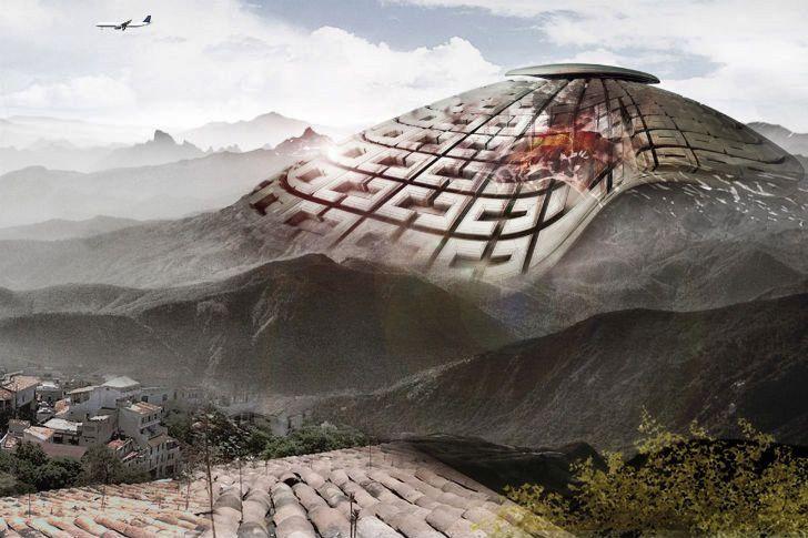 """Le """"Masque VolcanElectric"""" recouvrant le Popocatépetl - Doc.eVolo skyscraper competition"""