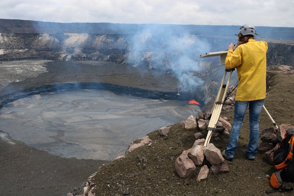 Kilauea - the level of lava lake in the Overlook dropped to 14 meters under the edge of the crater - HVO photo