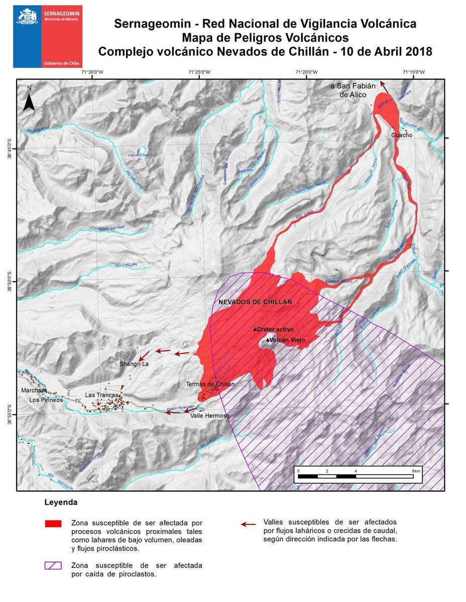 Nevados de Chillan volcanic hazard map - the shaded area marks the area of ​​potential pyroclastic spillovers, as of 10.04.2018 - Doc. SERNAGEOMIN