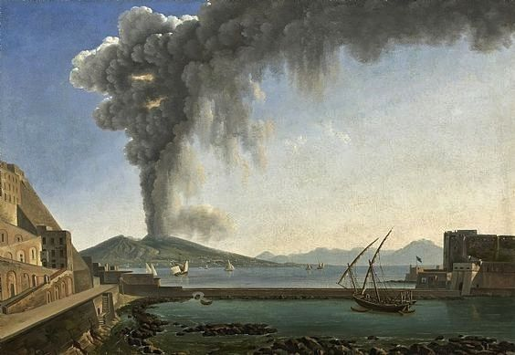 The 1813 Eruption of Vesuvius, Naples 1813 - Alexandre-Hyacinthe Dunouy - Oil on paper ugly down on canvas, 48.5 x 64.5 cm