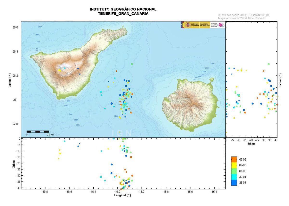 Canary Islands archipelago - 03,05,2018 - seismic series between Tenerife and Gran Canaria started on April 29 - map IGN Spain