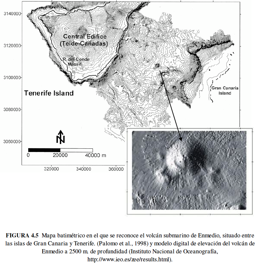 Bathymetric map of the situation of the Enmedio volcano - doc.IEO