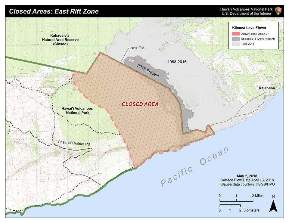 Kilauea - Zone closed by the NPS on 03.05.2018 - it will be necessary to add to it the zone of the eruption on the East rift zone - doc. NPS