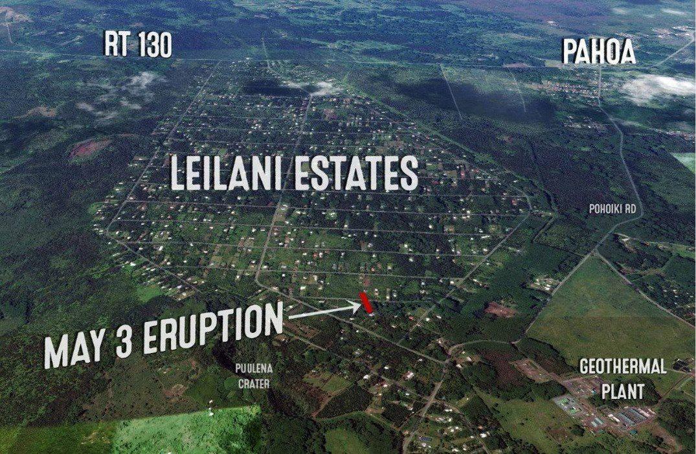 Site de l'éruption en cours - photo Hawaii News Now