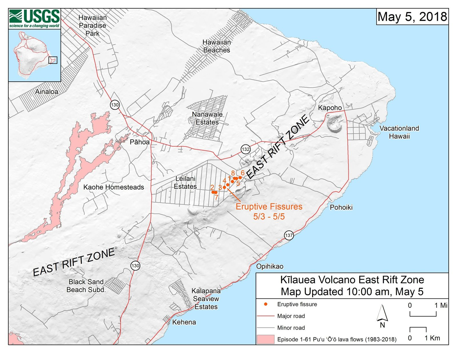 Kilauea East rift zone - map of the 8 eruptive fissures in the Lailani Estates Subdivision - Doc. HVO - USGS 05.05.2018 / 10am