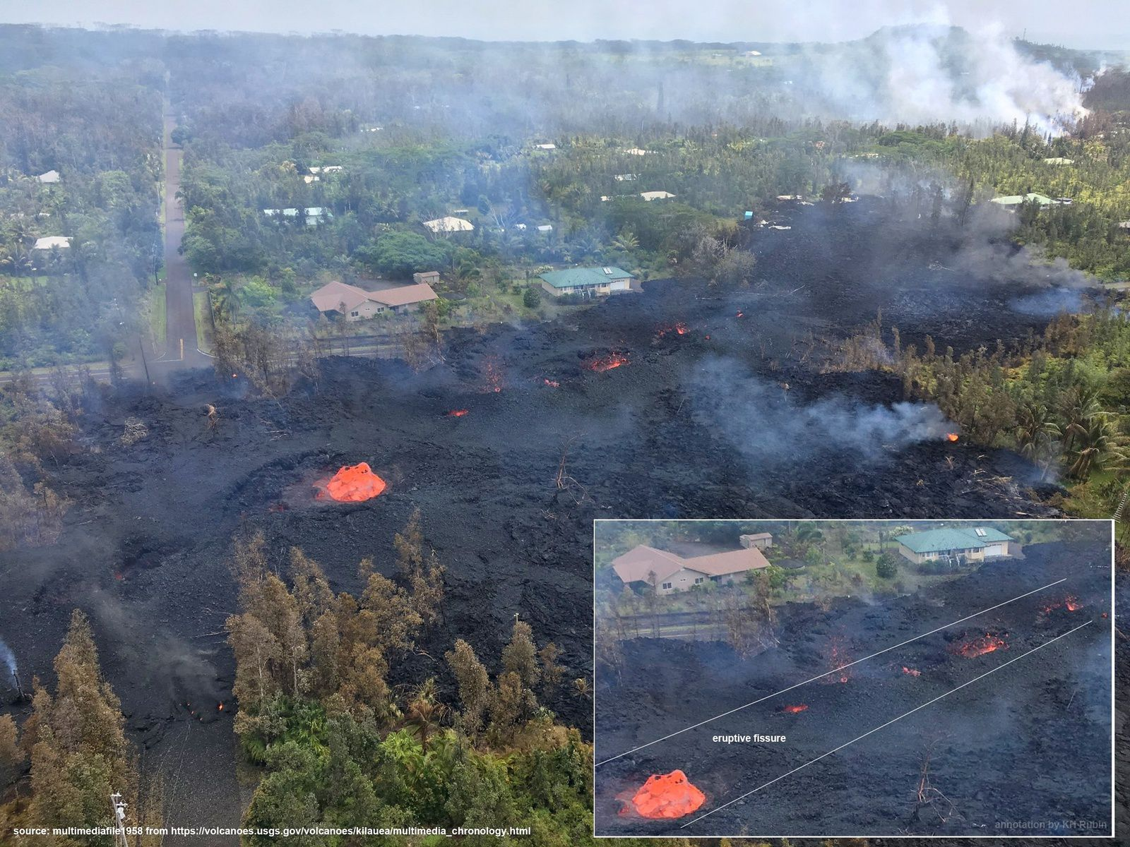 Kilauea East Rift Zone - view of the crack # 7 at 180 ° to the previous photo (identify the houses) showing in the inset the linearity of the crack - photo USGS