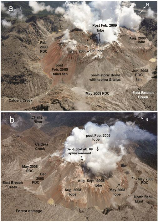 Chaiten - aerial photos of the complex of domes following the partial collapses of February 19 and September 29, 2009 - courtesy of OVDAS-SERNAGEOMIN; photo and interpretation by Jorge Muñoz in GVP
