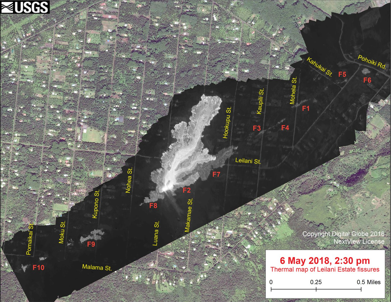 Progression of the lava between the two thermal photos of 05.05.18 / 10.45 and 06.05.18 / 2.30 pm - The temperature in the thermal image is displayed as grayscale values, the brightest pixels indicating the areas the warmer (the white shows the active breaks). - Doc. USGS / Digital Globe