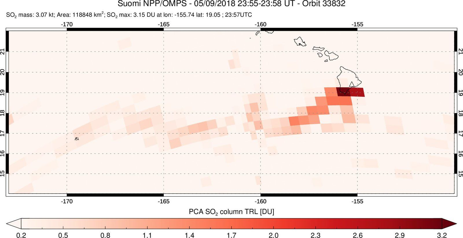 Sulfur dioxide plume issued by Kilauea up to 1,500 km from Hawaii - doc 09.05.2018 / NASA / NPP / OMPS via Simon Carn