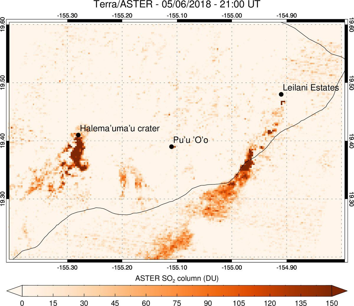 Sulfur dioxide emissions quantified by the Nasa Terra Aster satellite 06.05.2018; they indicate cracks in Leilani Estates as the main probable source of sulfur dioxide - Doc. Via Simon Carn