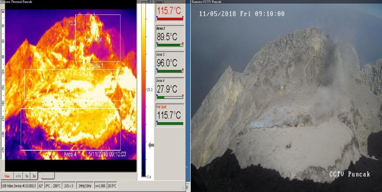 Merapi - visuals of the crater on 11.05.2018 / respectively at 9h10 and 11h25 - Doc. BPPTKG