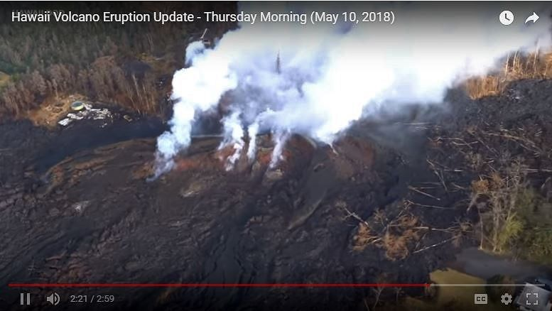 Kilauea - East rift zone - strange breached structure (in an arc behind the emissions) ... never before seen following Ken Rubin - from Video