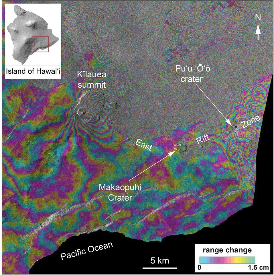 Kilauea summit zone and rift - interferogram made from radar data collected by the Cosmo-SkyMed satellite constellation operated by the Italian Space Agency (@ASI_spazio). The colored fringes show #deformation of Earth's surface towards or away from the satellite. The more fringes that are clustered together, the more deformation has occurred. Each color cycle is equivalent to 1.5 cm (0.6 in) towards or away from the satellite. The data show deformation that occurred at Kilauea Volcano between May 8 (6 PM local time) and May 11 (6 PM local time). There is no obvious deformation of Kilauea's East Rift Zone in the vicinity of Puu Oo or Makaopuhi craters. Fringes in the vicinity of Puu Oo are topographic errors caused by lava flows that were erupted over the past several years. The fringes on the volcano's south flank, between the summit and the ocean, are probably caused by atmospheric conditions.  - Doc. USGS