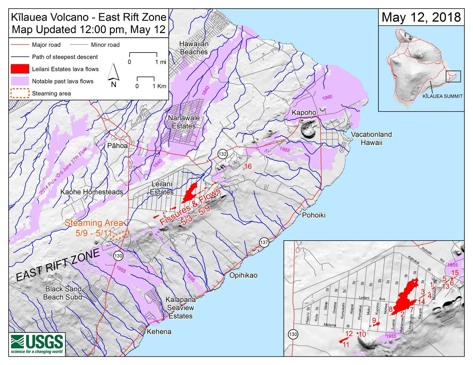 Main map shows the location of fissure 16, as well as earlier fissures, lava flows, and steaming areas, as of 12:00 p.m. HST, May 12. - USGS