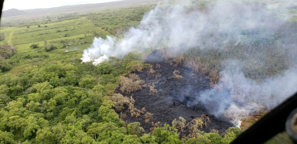 Kilauea – East rift zone - At 18:14 HST, HVO received this photo from a Hawaii County Fire Department overflight, showing steaming areas downrift from fissure 16, which developed into fissure 17.