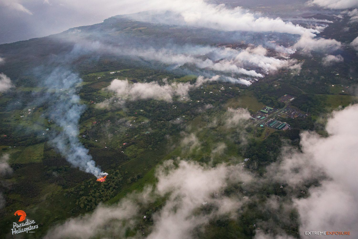 Kilauea - East Rift Zone - fissure  # 16 Active in Lalipuna Gardens and Degas Cracks in Leilani Estates - Photo by Bruce Omori / Paradise Helicopters